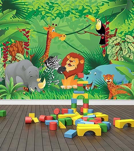 Jungle Zoo Animals Wall Mural Photo Wallpaper Safari Kids Bedroom Nursery Large 1500mm X 1150mm Amazon Co Uk Kitchen Home