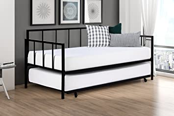 modern finlay daybed with trundle combo twin metal bed frame strong sturdy slats support - Modern Metal Bed Frame