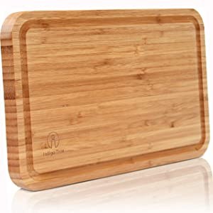 "Bamboo Cutting Board with Juice Groove - Convenient Size 8""x13"" 