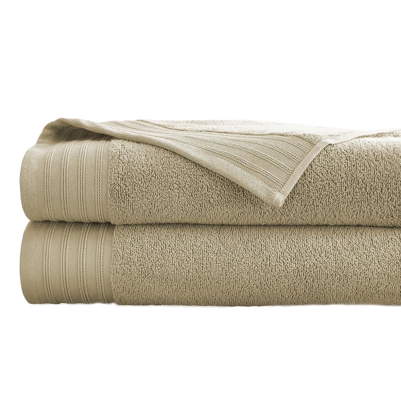 Amrapur Overseas 2-Pack 100% Combed Cotton Super Soft Oversized 450GSM Quick-Dry Bath Sheet Set [White] 56BODYTG-WHT-ST