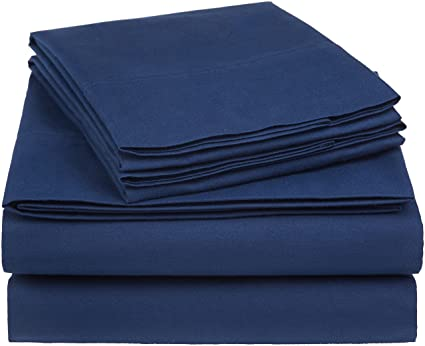 AmazonBasics Essential Cotton Blend Queen Size Navy 225 Thread Count Bedsheet Set, (Includes 1 Bedsheet, 1 Fitted Sheet with Elastic, 2 Pillow Covers)
