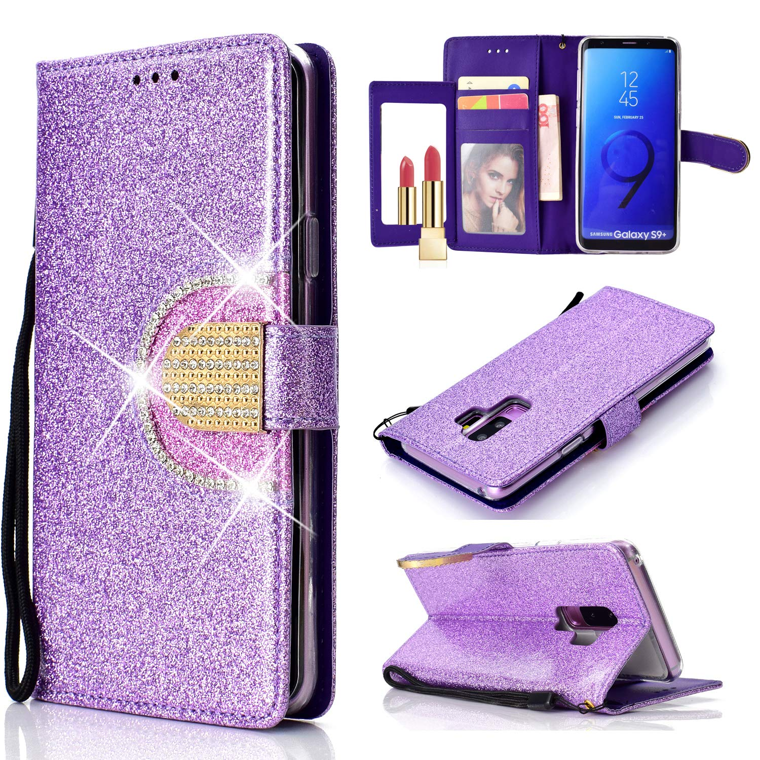for Samsung Galaxy S9 Plus Wallet Case and Screen Protector, Samsung Galaxy S9 Plus Leather Phone Cases with Card Holder and Mirror, QFFUN Glitter Diamond Magnetic Closure Stand Function Shockproof Anti-Scratch Drop Protection Etui Shell Bumper Protective