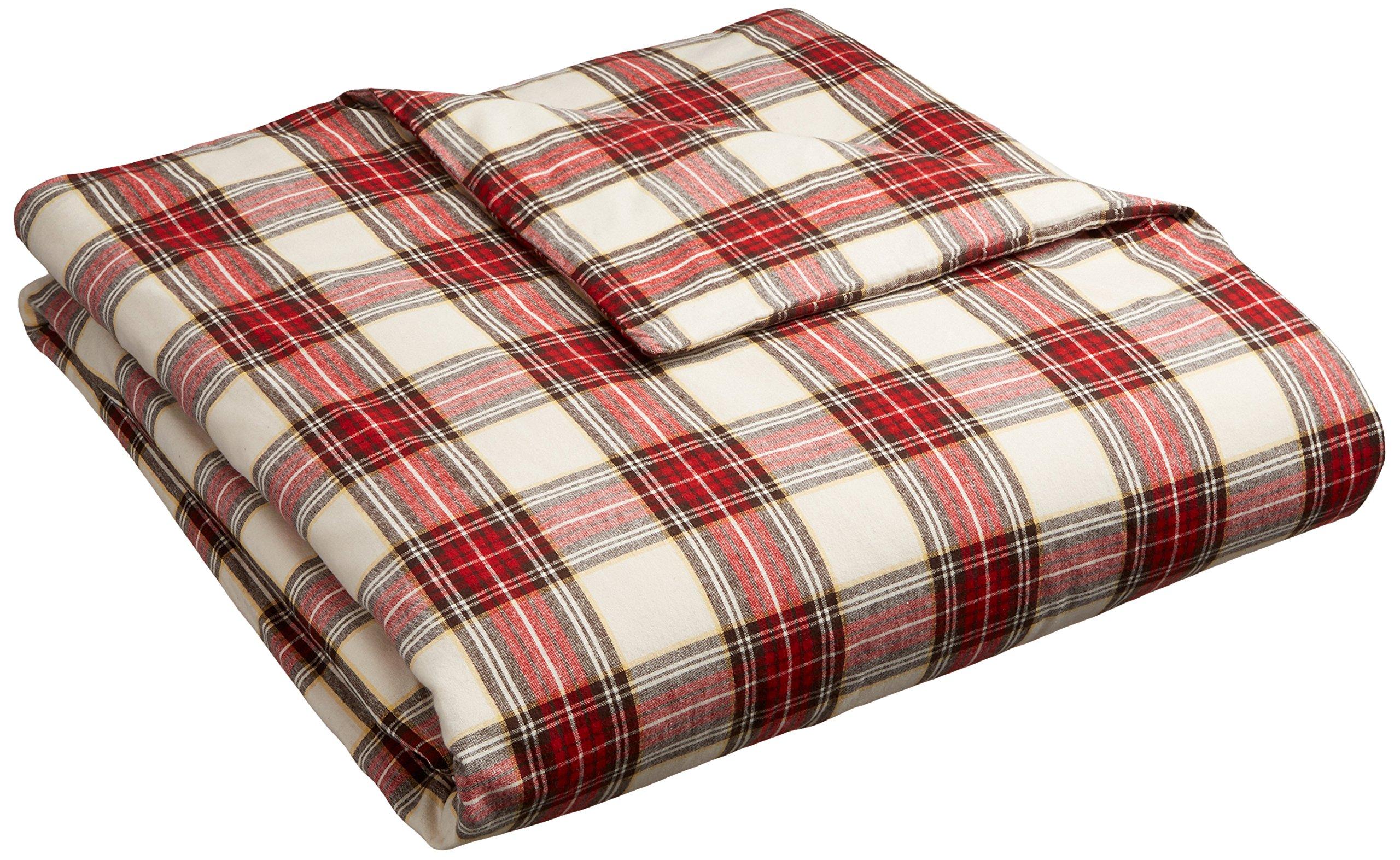 Pinzon 160 Gram Plaid Flannel Duvet Cover - Full/Queen, Cream/Red Plaid