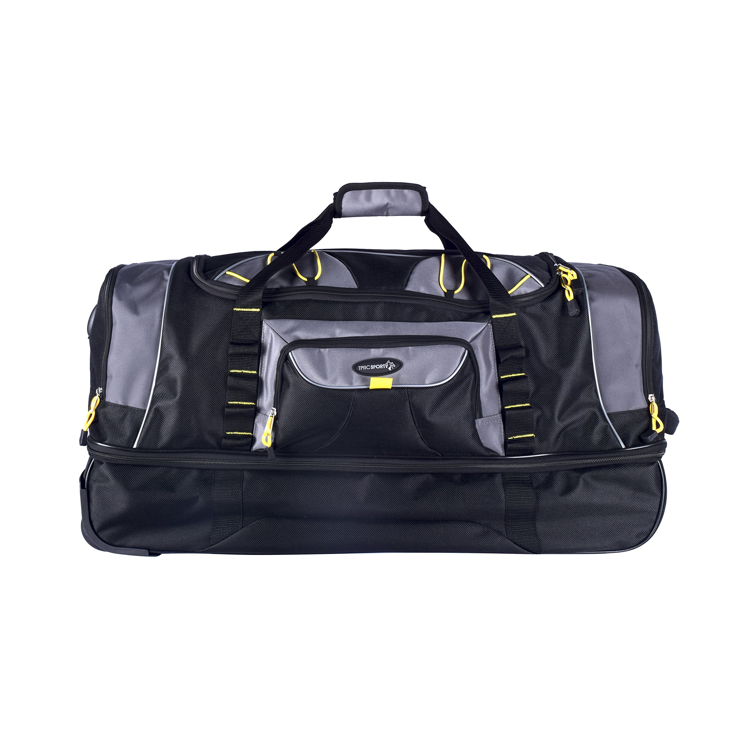 TPRC 30'' Black with Yellow Trims ''Sierra Madre'' 2-Section Drop-Bottom Rolling Duffel by TPRC