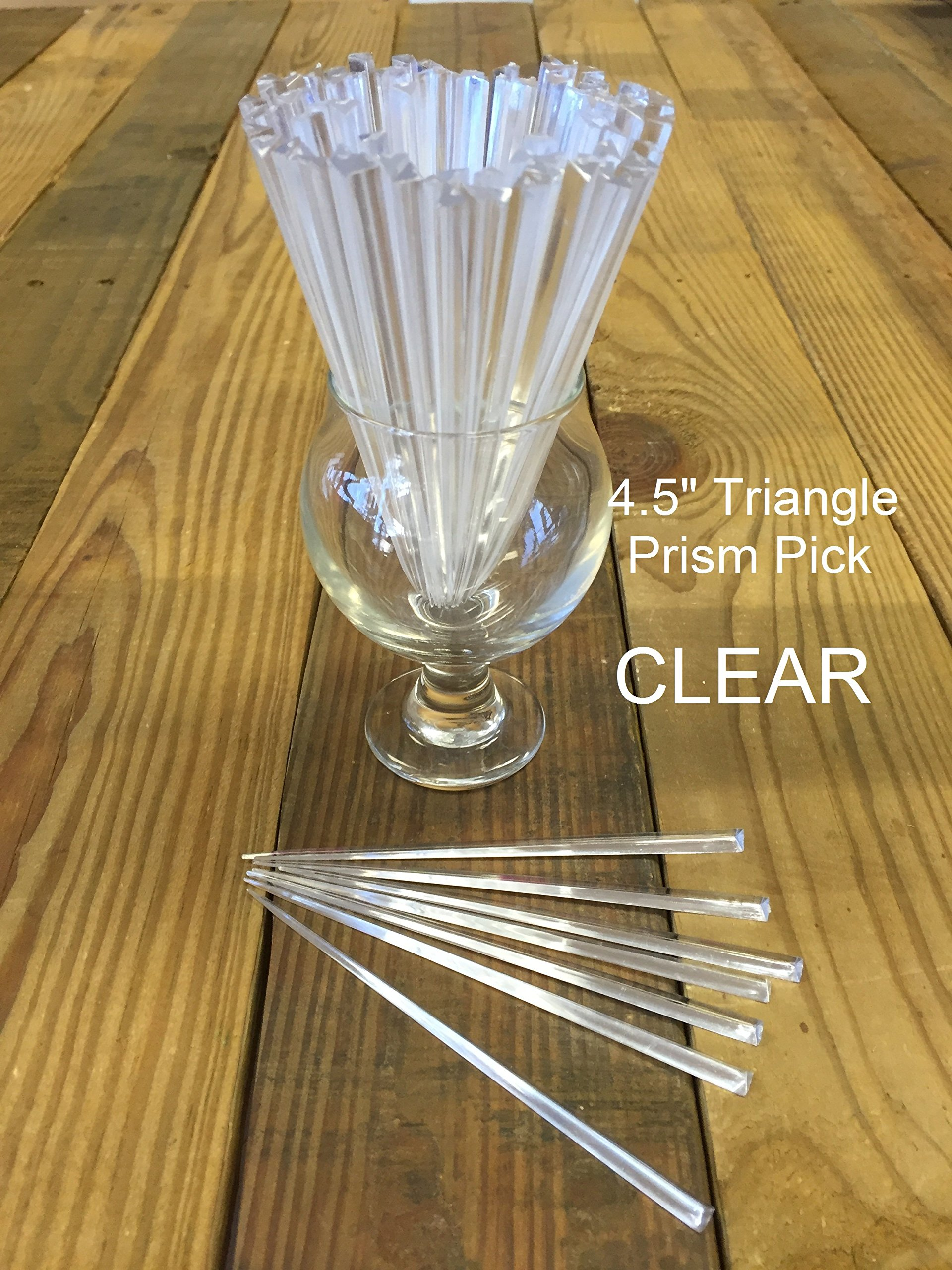 Picks, PACK of 100 CLEAR 4.5'' Triangle Prism - Cocktail, Party, Food Pick