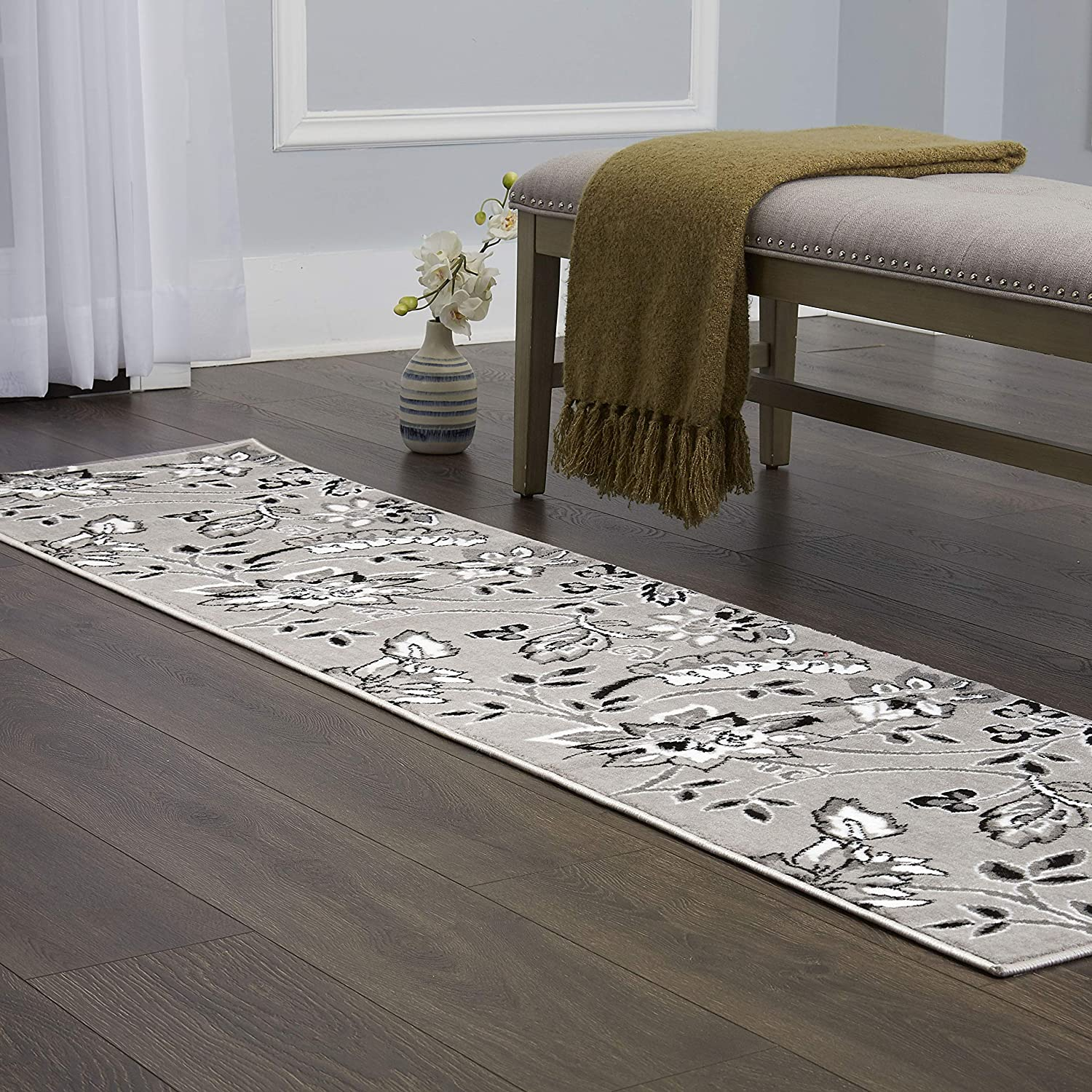 """Home Dynamix Tremont Lane Azria Traditional Runner Area Rug, Floral Gray 1'8""""x7'2"""""""