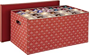 Organize It All Holiday Ornaments Storage Box, Cube Compartments, Red, 56-Inch (9641W1P)