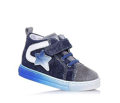 FALCOTTO - Chaussure à lacets bleue et grise en denim et suède, idéale pour les premiers pas et pour ramper, garçon, garçons-18