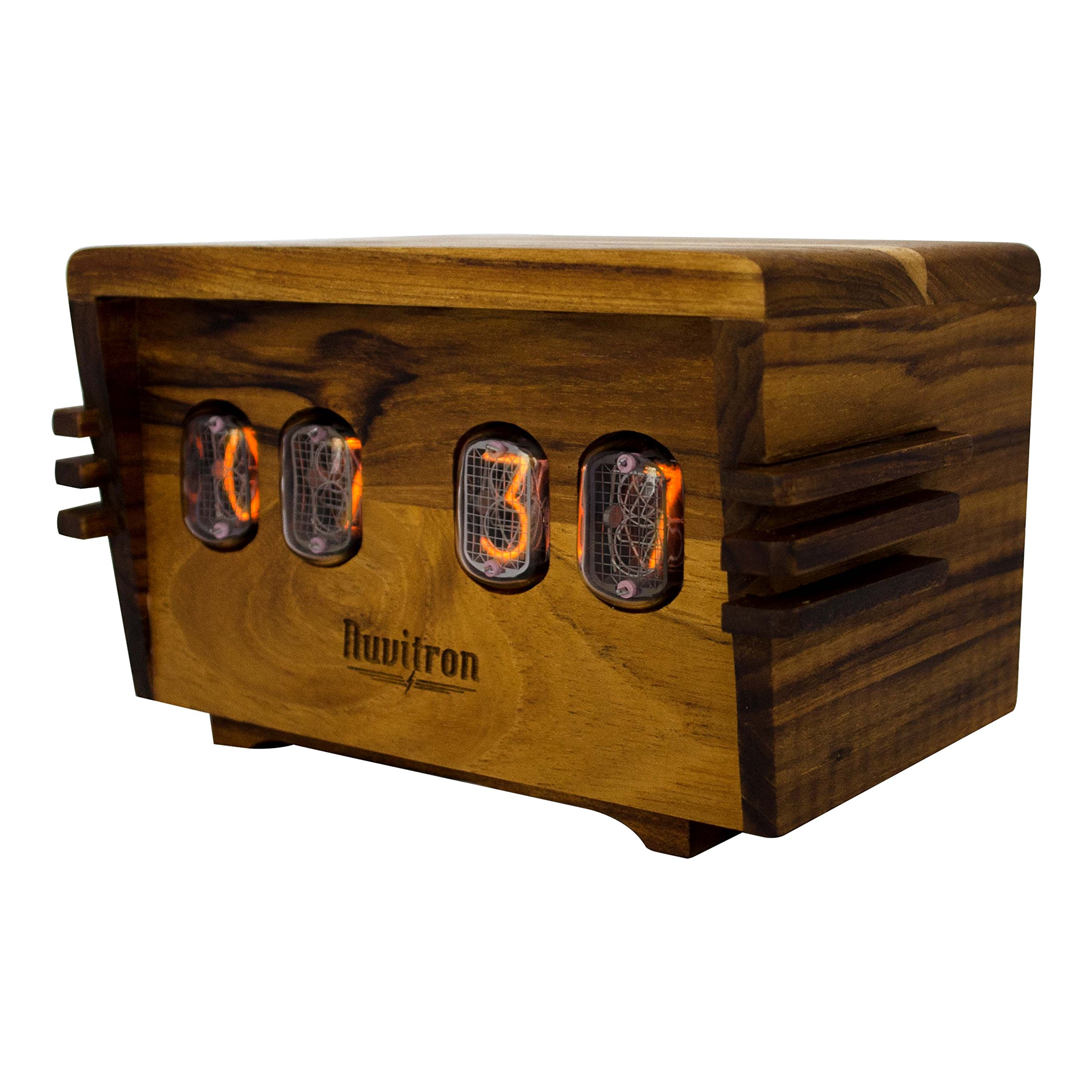 The Unique Nixie Vacuum Tube Alarm Clock | A Retro Wooden Desk Cool Clock | An Unusual Decorative Vintage Wood Clock Wedding or Anniversary Gift | Nixy Ampere by Nuvitron