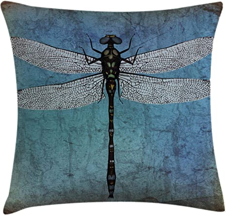 Amazon Com Ambesonne Dragonfly Throw Pillow Cushion Cover Grunge Vintage Old Backdrop And Dragonfly Bug Ombre Image Decorative Square Accent Pillow Case 24 X 24 Blue Turquoise Home Kitchen