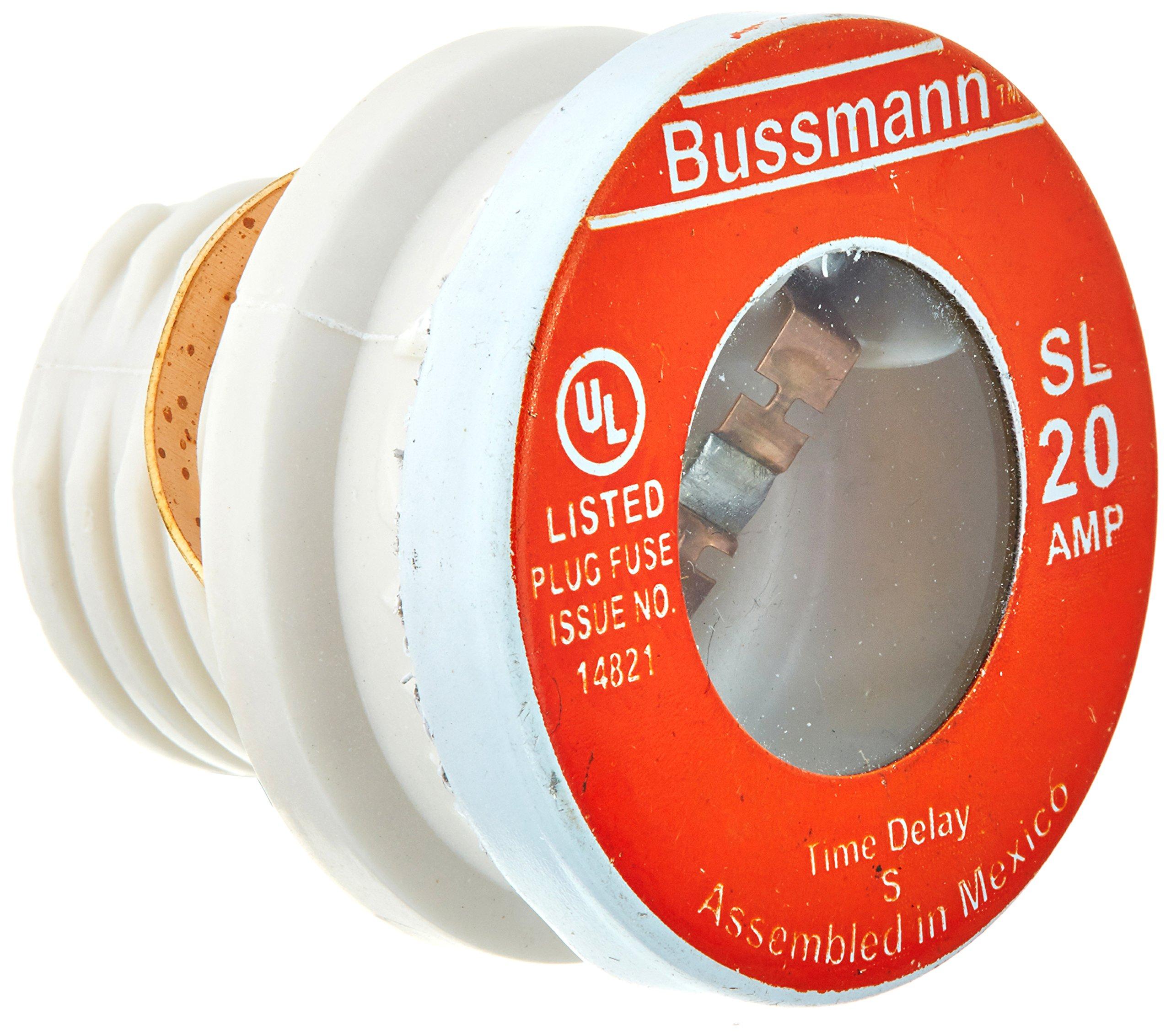 Bussmann SL-20 20 Amp Time Delay Loaded Link Rejection Base Plug Fuse, 125V