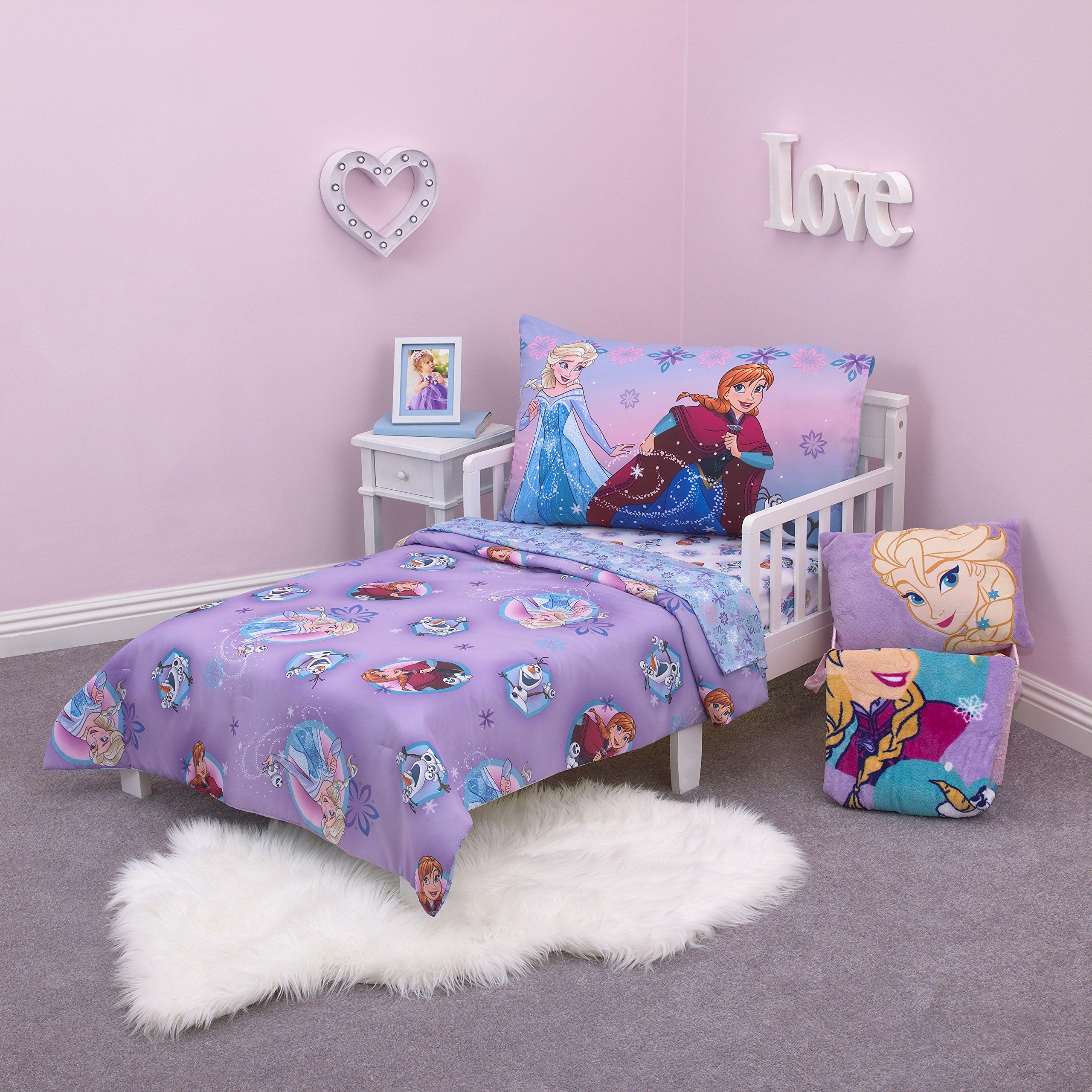 Disney Frozen Stirring Up Fun 4 Piece Toddler Bedding Set, Purple/Pink/Multicolor by Disney
