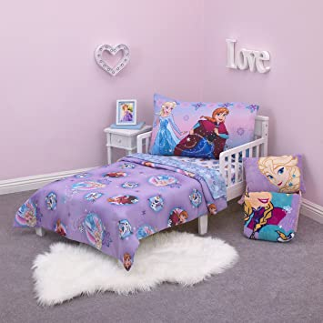 watch fb891 726b4 Disney Frozen Stirring Up Fun 4 Piece Toddler Bedding Set,  Purple/Pink/Multicolor