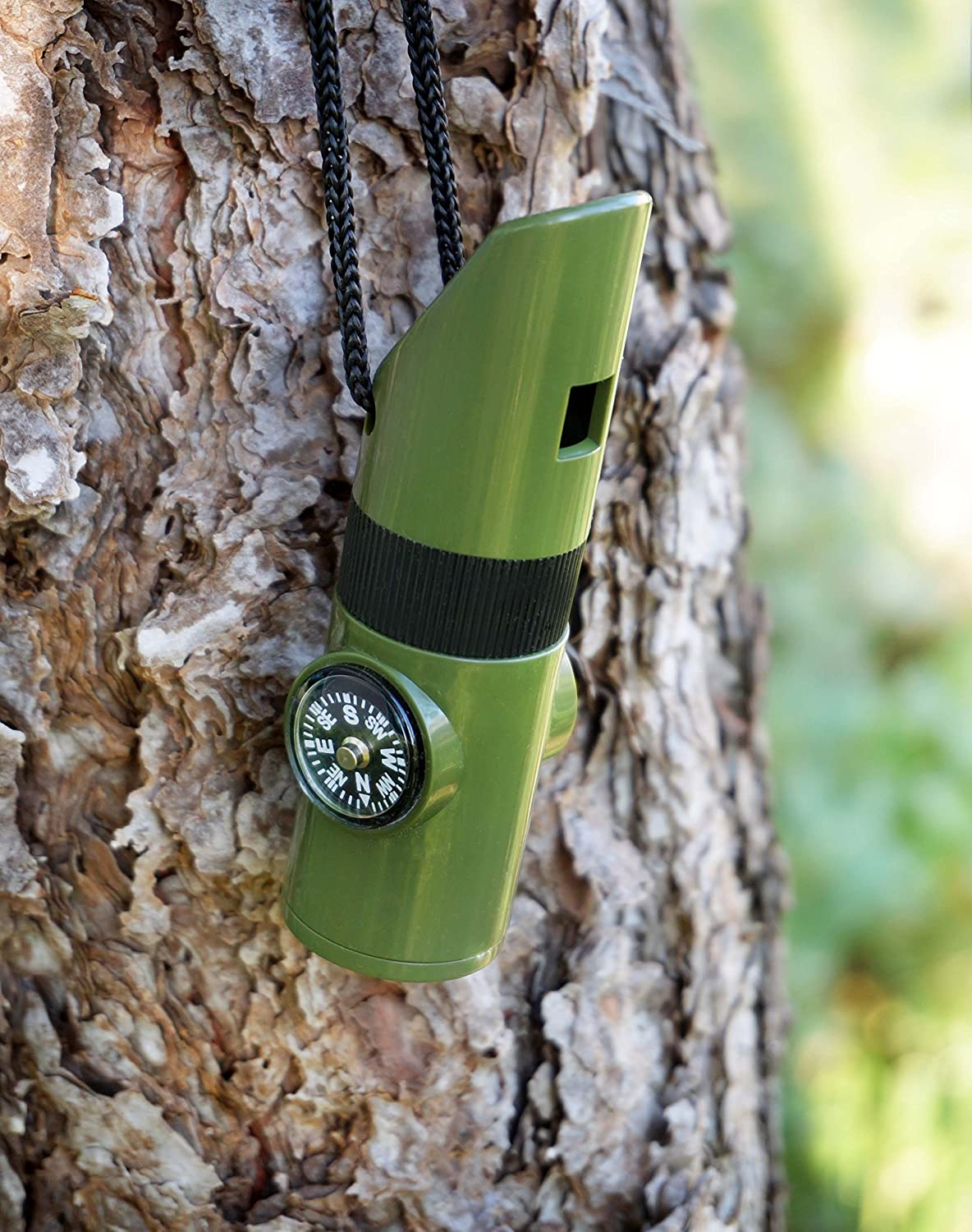 7 in 1 Survival Whistle Multi-Case with LED Flashlight Compass Mirror - Green
