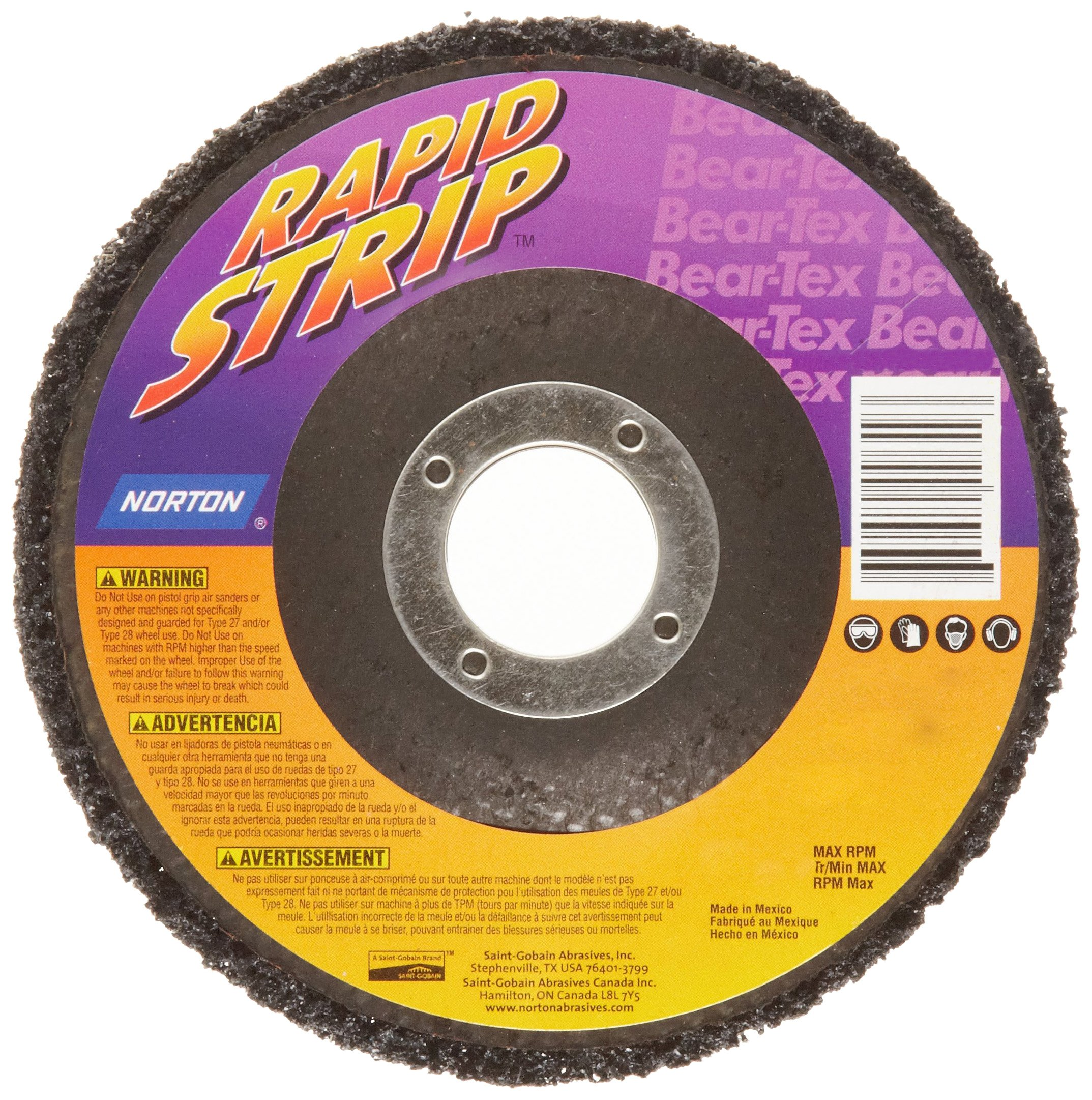 Norton Bear-Tex Rapid Strip Depressed Center Nonwoven Abrasive Wheel, Type 27, Fiber Backing, 7/8'' Arbor, Silicon Carbide, 4-1/2'' Diameter, Grit Extra Coarse (Pack of 10)