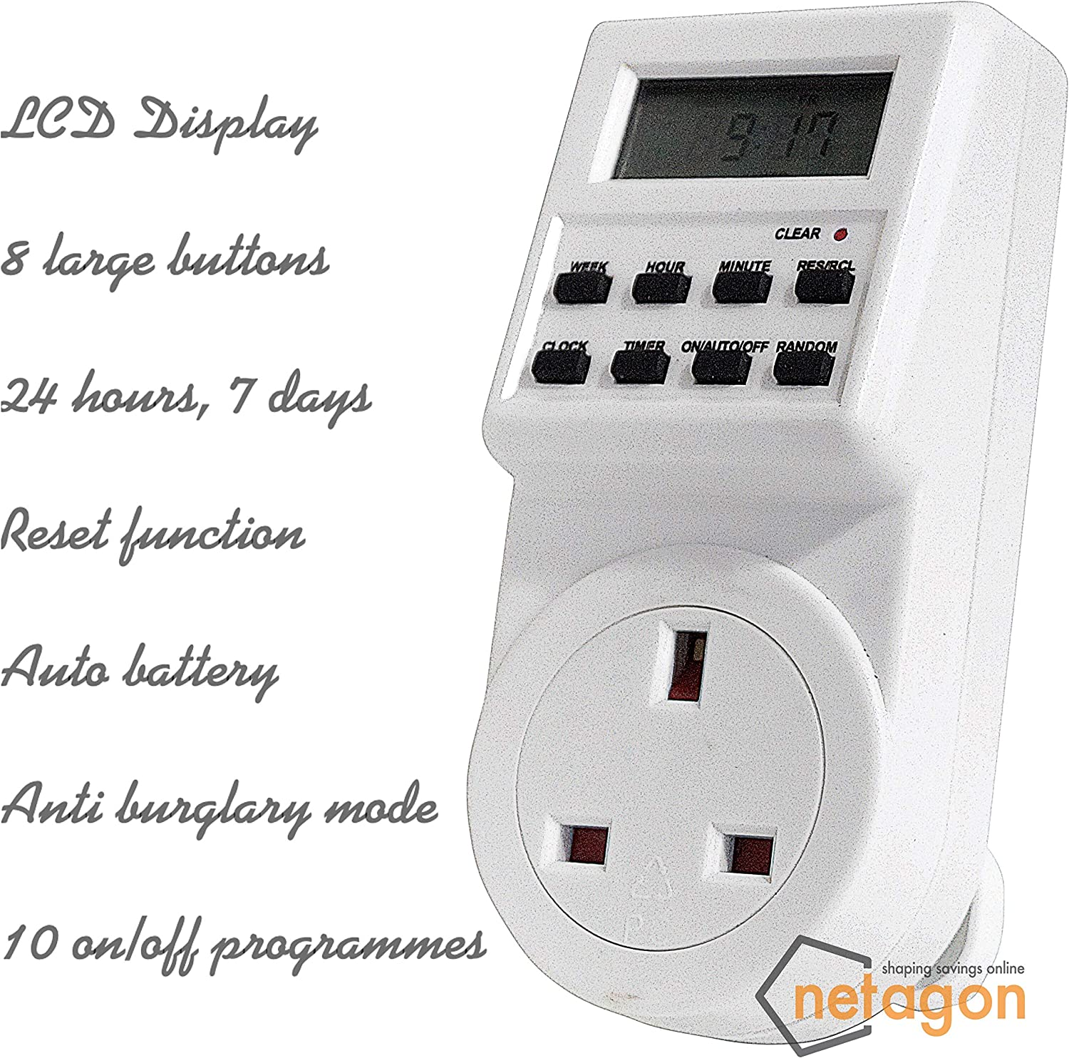 Pack of 1 Netagon Electric Appliance Plug-in Programmable Digital Timer Socket Plug 24 Hours, 7 Day, LCD Display