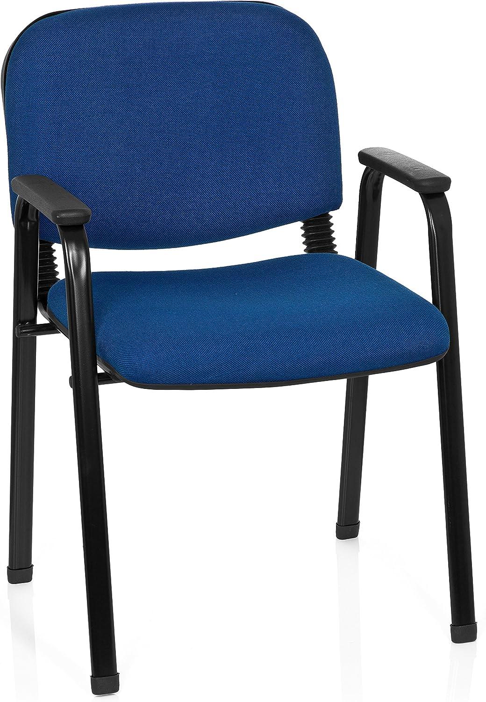 HJH Office 704341XT 650plástico azul Conferencias silla acolchada con reposabrazos, apilable