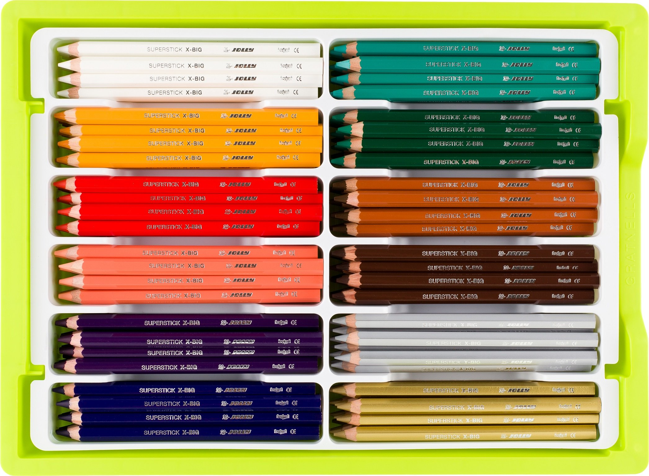 Jolly X-Big Premium Jumbo Colored Pencils with Stackable Storage Box; 180 Pcs (15 each of 12 secondary colors), Perfect for Group Projects and Classrooms, Special Needs, Art Therapy, Pre-School