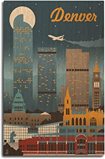 product image for Lantern Press Denver, Colorado - Retro Skyline (10x15 Wood Wall Sign, Wall Decor Ready to Hang)