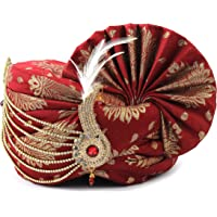 Aman Royal Dulha Collection Men's Traditional and Ethnic Safa/Turban/Pagdi with Golden Leaf Print (Maroon, Free Size)