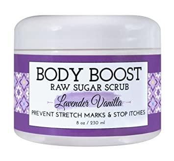 Body Boost Lavender Vanilla Raw Sugar Scrub 8 oz- Pregnancy and Nursing  Safe Skin Care