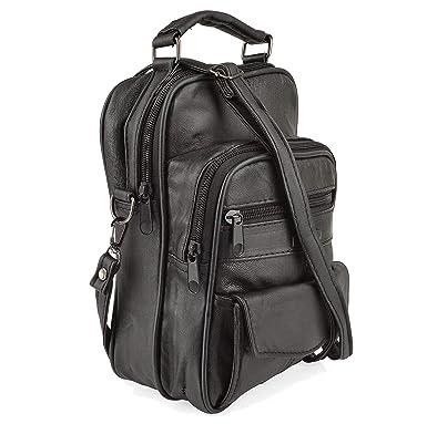 26dc185bc27a Black Leather Shoulder Man Bag Travel Organiser or Camera Bag with pockets