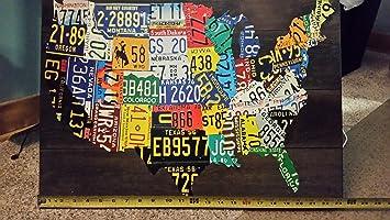 Usa License Plate Map Print Wood Frame Wall Decor Amazon De Home Kitchen