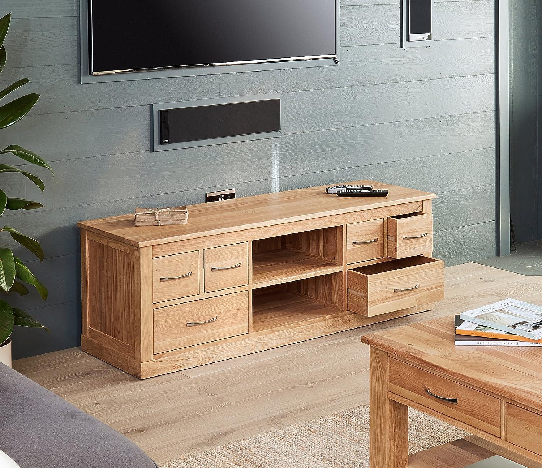 baumhaus mobel oak widescreen television cabinet amazon co uk kitchen home