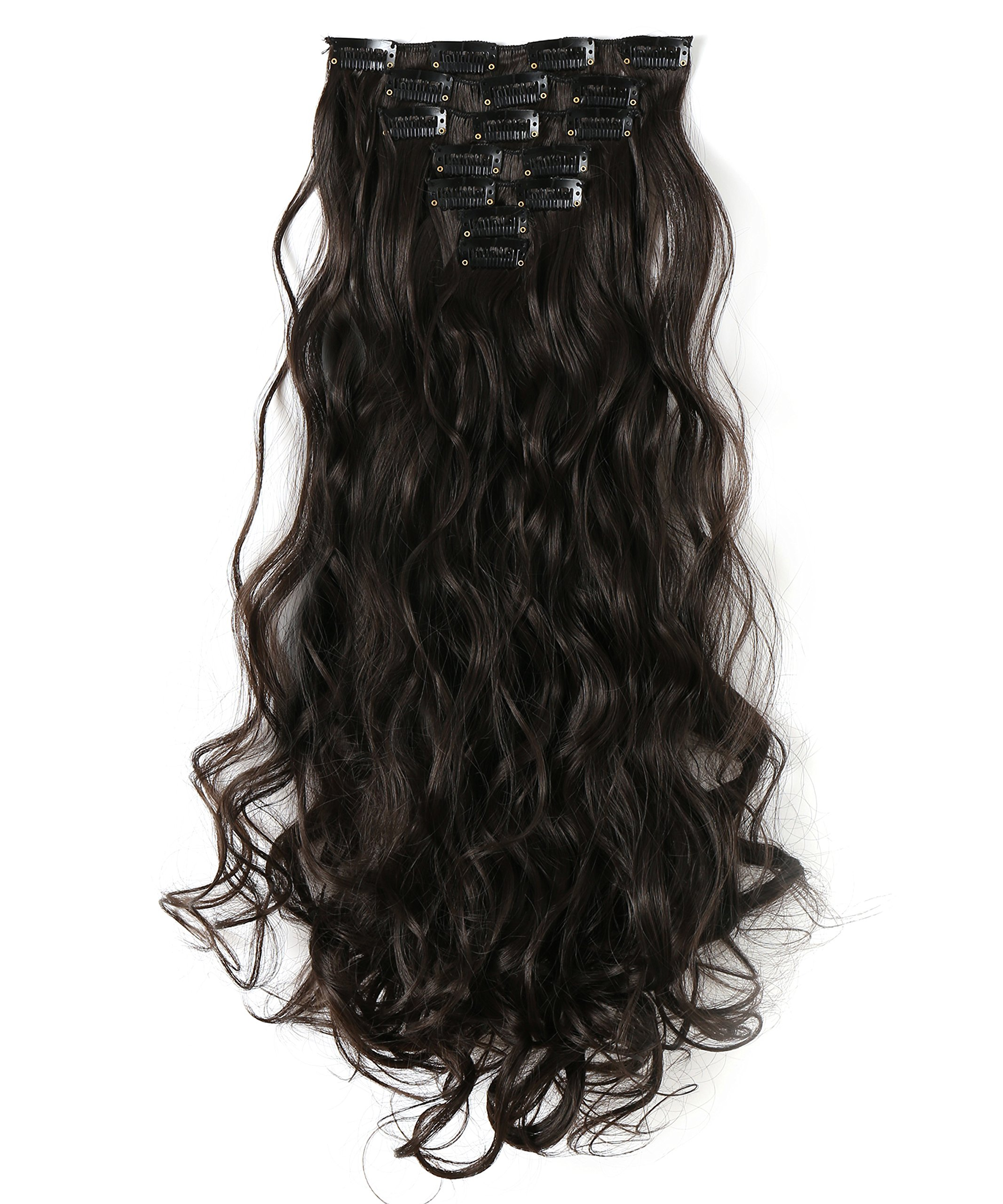 OneDor 20 Inches Curly Full Head Clip in Synthetic Hair Extensions 7pcs 140g (4#-Dark Brown)