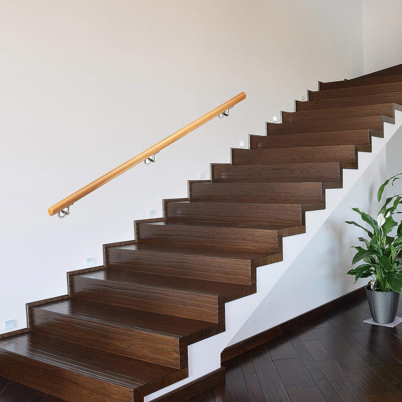 Wandhalterung rustikal 42 mm Durchmesser Relaxdays Handlauf Holz Buche 1500 mm//150 cm//1,5 m nat/ürlich mit D/übeln