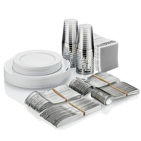 Amazon.com: Juego de vajilla desechable de plata para 25 ...
