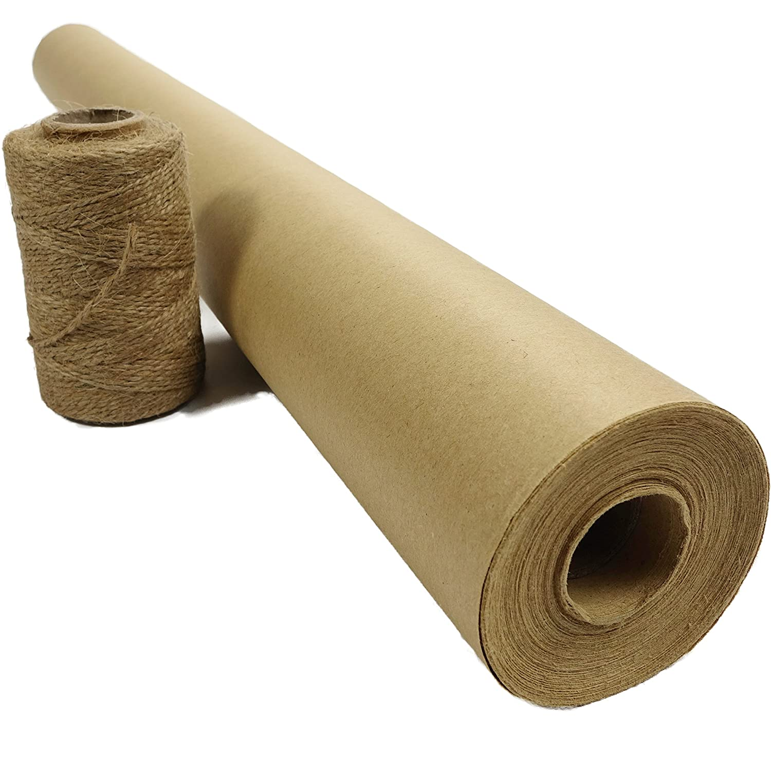 Brown Kraft Paper Roll for Gift Wrapping by Blami | Jumbo 30 x 1200 (100 ft) XL thickness 50# recycled Made in USA | with Jute Twine | shipping, packing, table runner, dunnage parcel, postal craft Blami Arts 4336878824