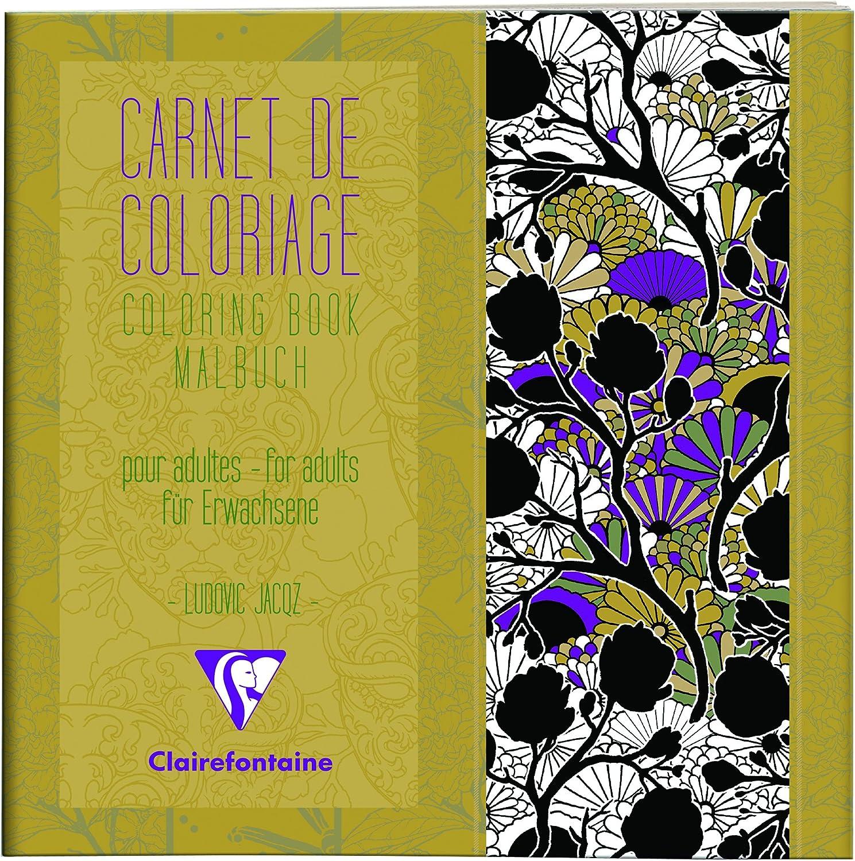 Motifs Un carnet de coloriage adulte encoll/é 36 Pages imprim/ées 20x20 cm 120g Clairefontaine 97508C