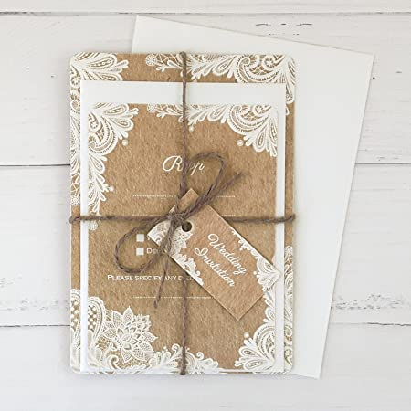 Rustic Lace Pattern   Wedding Invitations U0026 RSVP   Pack Of 10