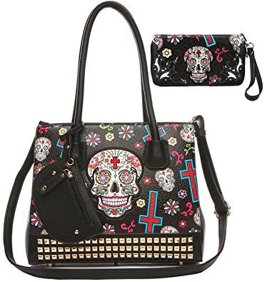 Amazon.com  Sugar Skull Day of the Dead Cross Women Studded Purse Western  Punk Handbag Shoulder Bag Wallet Set Black  Shoes 73214f286465d