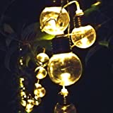 Solar Christmas Decorations Lights Outdoor Fairy String Light 12 Days of Deals of the Day 30 Bulb Warm White LED Ornaments Sogrand Decorative Garden Landscape Lighting Waterproof for Party Yard Tree