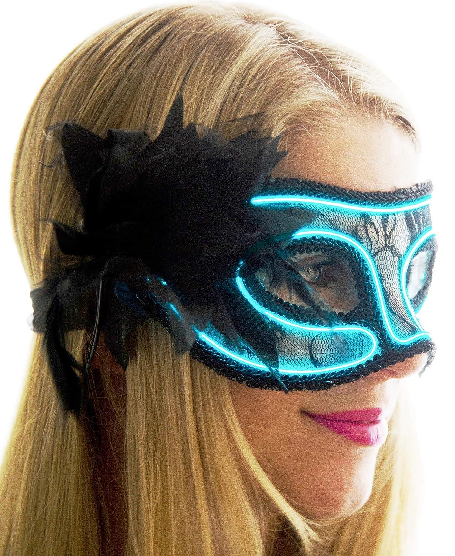Aqua One Size Neon Nightlife Women's Light up Venetian Mask Mardi Gras Masquerade