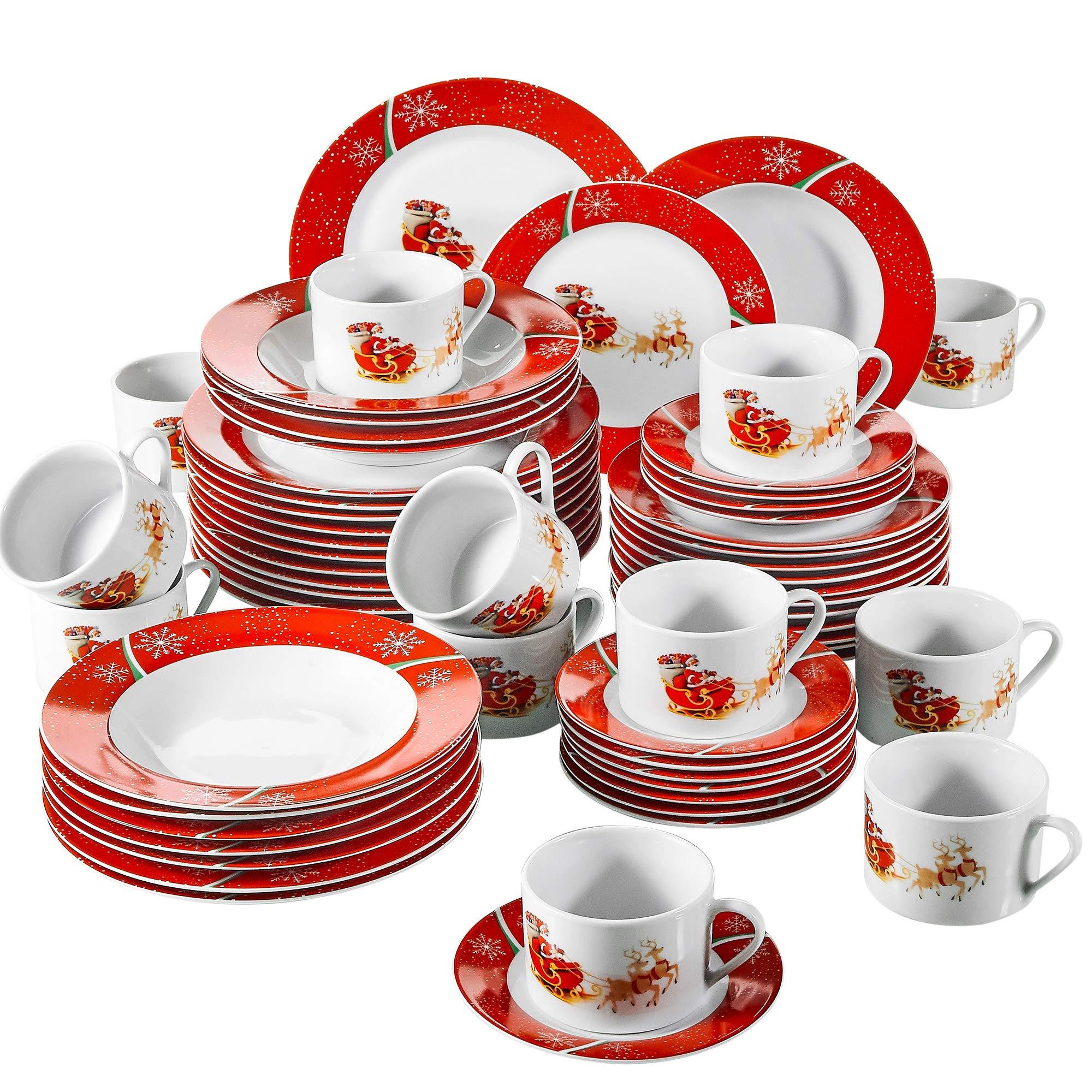 VEWEET, Serie CHRISTMASDEER,vajillas de Porcelana, 60 Piezas vajilla Completa para 12 Personas