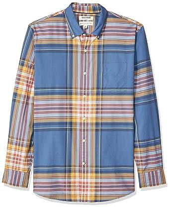 29dceca2e307 Goodthreads Men's Standard-Fit Long-Sleeve Lightweight Madras Plaid Shirt,  Blue Yellow Plaid