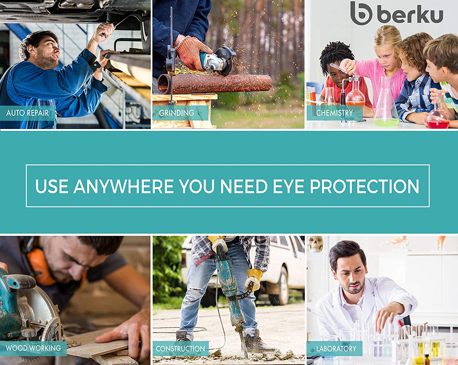 eye protection with clear scratch-resistant and UV protective coated lenses fog-free Berku safety glasses with integrated side protection