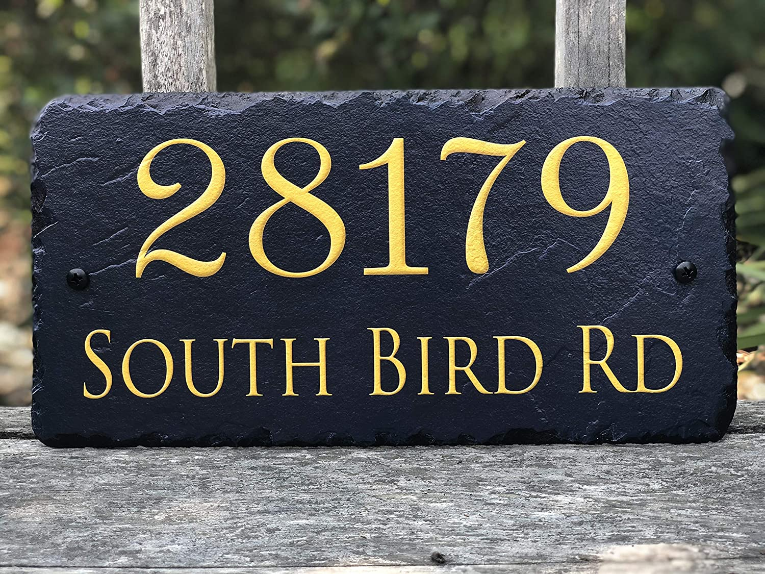 Sassy Squirrel Beautifully Handcrafted and Customizable Slate Home Address Plaque Personalized House Sign with and mounting Hardware Improve The Curb Appeal of Your Property 12x6