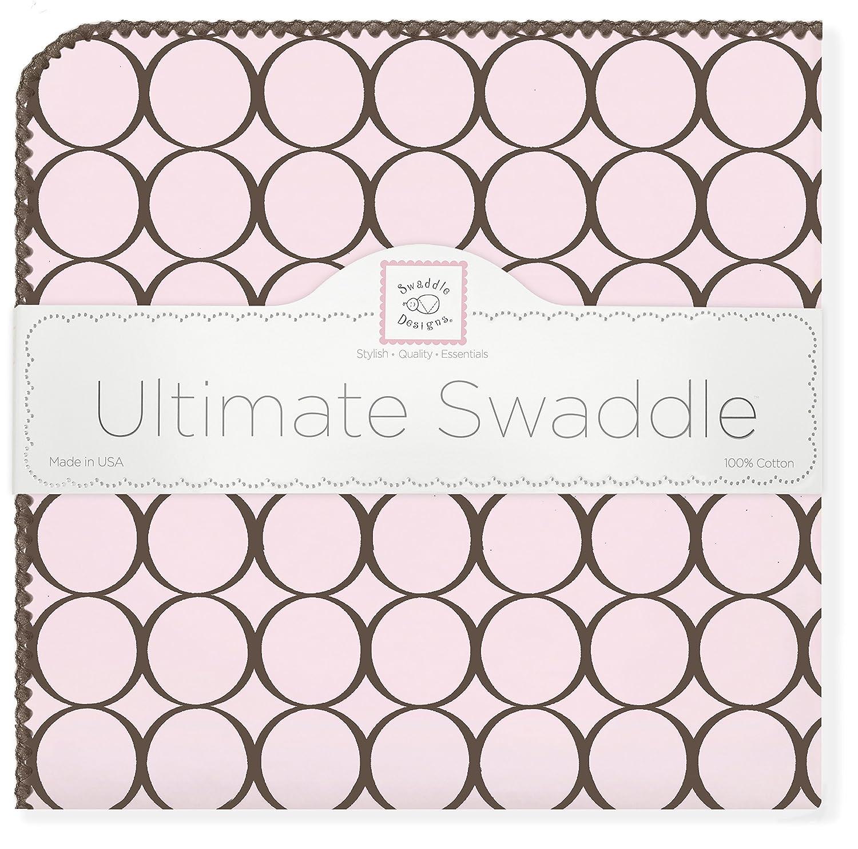 SwaddleDesigns Ultimatives Pucktuch, Premium Baumwollflannell, Poppige braune Kreise mit Pastell, Pastellrosa SD-016PP