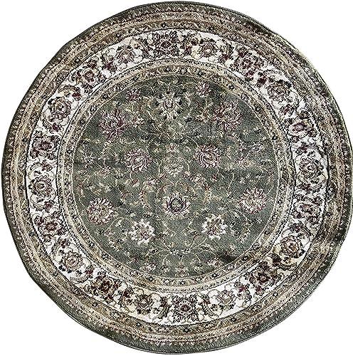 Deir Debwan Traditional Round Persian Oriental 330,000 Point Rug Green,Beige Burgundy Design 601 7 Feet 9 Inch X 7 Feet 9 Inch