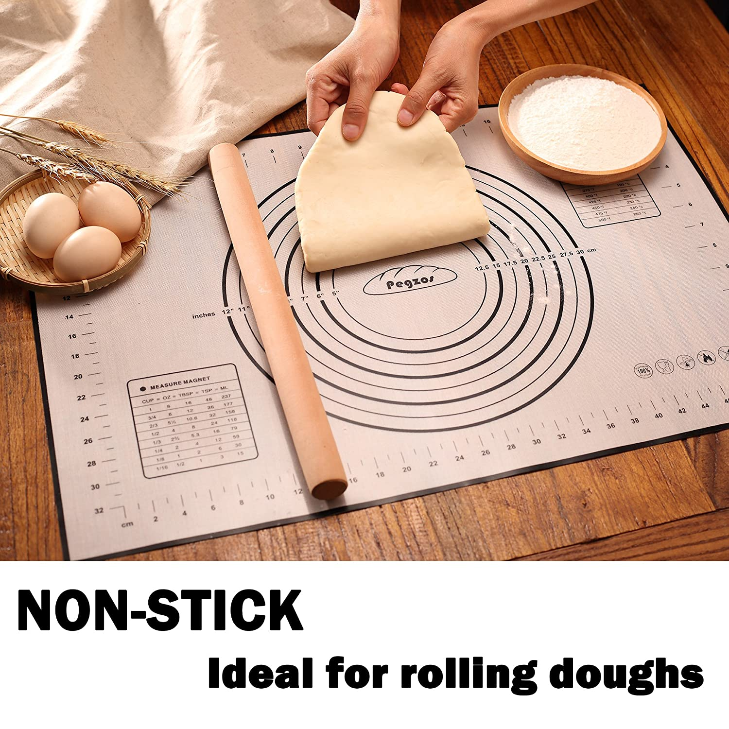 Perfect for Rolling Dough Sticks to Countertop PEGZOS Pastry Mat XX-Large 32/'/'x24 Non-Slip Silicone Fondant Sheet