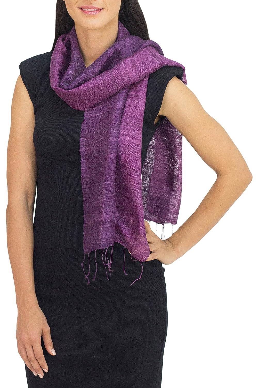 NOVICA Purple 100% Silk Scarf, 'Bold Orchid'
