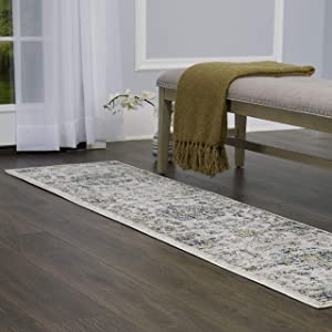 "Home Dynamix Nova Astoria Rug, 1'9""x7'2"" Runner, Ivory/Gray/Blue"