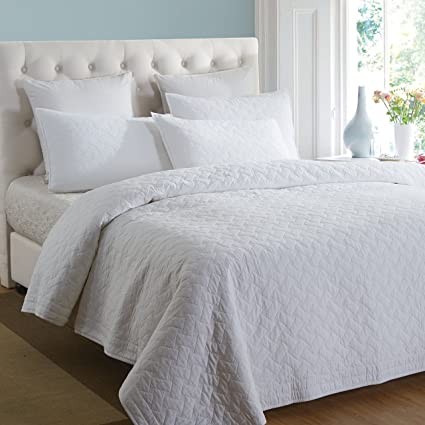 Beau Aivedo Pure White 100% Cotton Matelasse Bedspread Set,Quilt Set,Coverlet Set  3