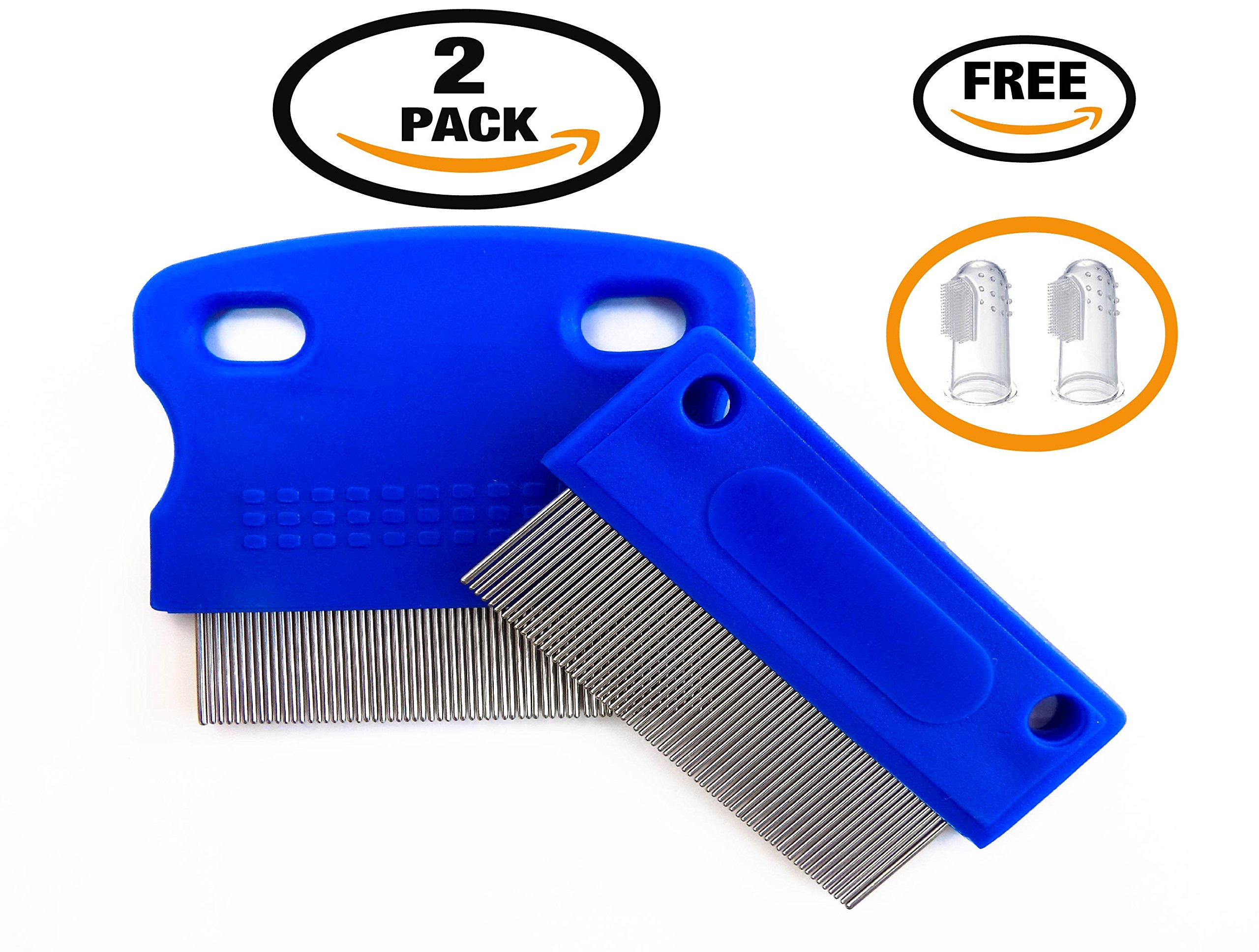 Dogs Comb, Tear Stain Remover, Dog Eye Cleaner, Gentle and Safe Remove Mucus, Stain, Crust, Gunk and Germs From your Eye Pet. Pet Grooming, Get Rid Lice, Fleas, 2 Combs with Rounded Teeth. Pet Combs.