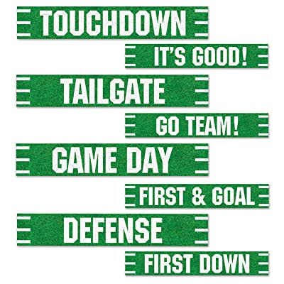 Beistle Football Street Signs Cutouts, 4 by 24-Inch, Green/White: Kitchen & Dining