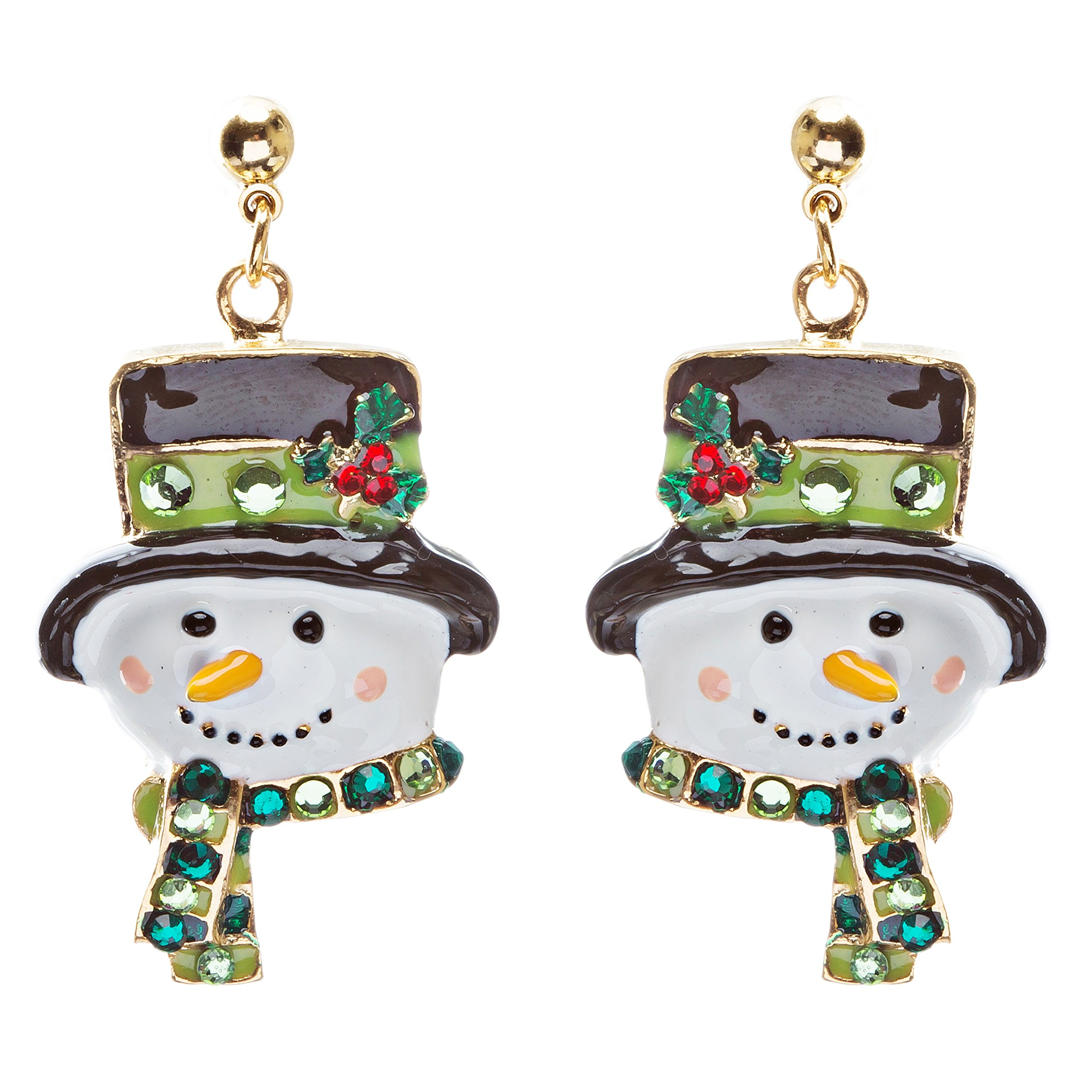 ACCESSORIESFOREVER Women Christmas Jewelry Crystal Rhinestone Holiday Happy Snowman Face Earrings E884